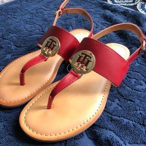 Womens Red Tommy Hilfiger Original Sandals